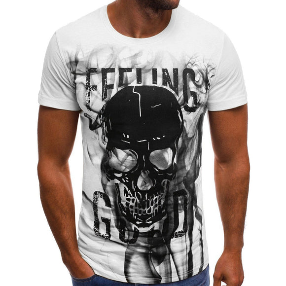 3D Tshirt Men Summer 2019 Skull Printed O Neck Short Sleeve Funny T Shirts Streetwear Fitness Clothing Tee Shirt Homme