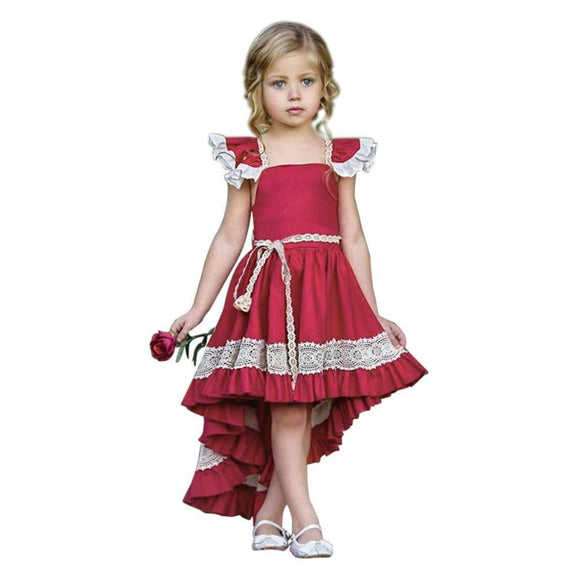 Summer Girls Lace Irregular Dress Ruffle Bowknot Backless Kids Baby Toddler Party Pageant Dresses Travel Holiday Cute Costumes