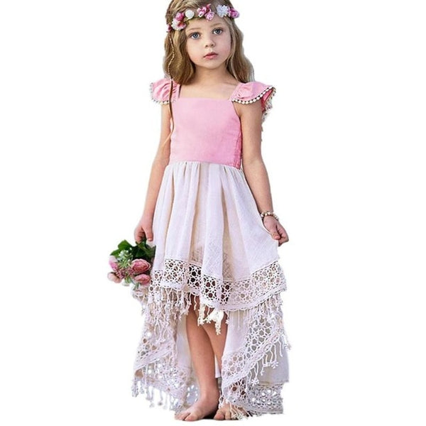 Kids Girls Lace Hollow Tassel Irregular Dress Summer Ruffle Bowknot Backless Baby Toddler Princess Dress Pageant HolidayOutfits