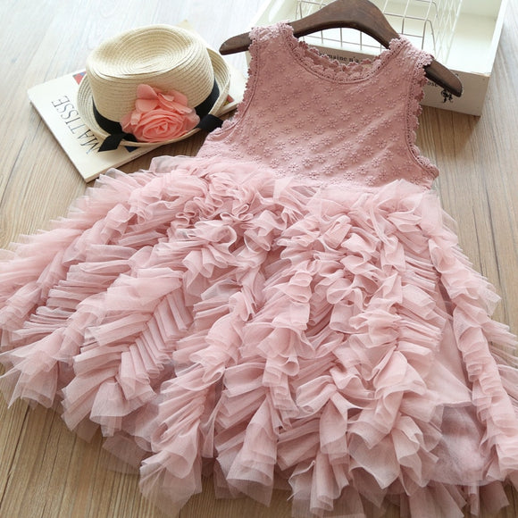 Girls Dresses for Party and Wedding Lace Layered Tutu Dress Baby Girl Clothes Summer New Kids Dresses for Girls Princess Costume