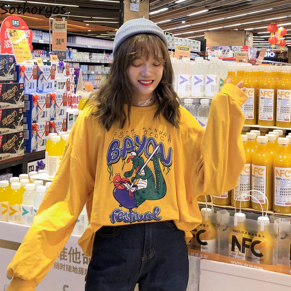 T-shirts Women Oversize Cartoon Printed Kawaii O-Neck Leisure All-match T-shirt Womens Long Sleeve Letter Korean Tees Lovely