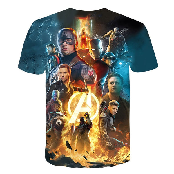 2019 4.24 Start Fight New design t shirt men/women marvel Avengers Endgame 3D print t-shirts Short sleeve Harajuku style AS SIZE