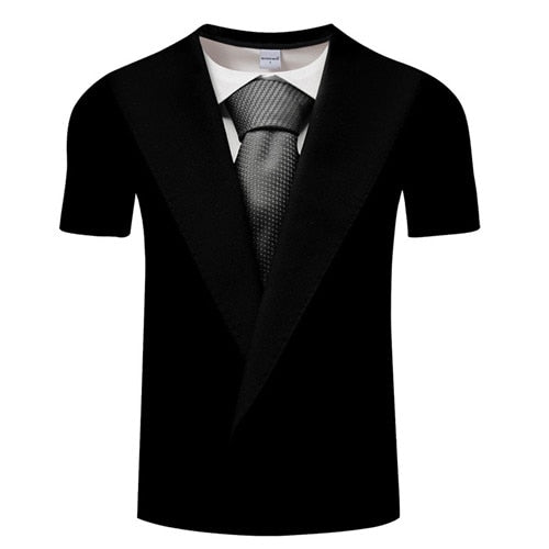 Hot Sale 3D T Shirt Men Fake Suit Uniform Print Short Sleeve Compression Shirt Skin Tight O-Neck Casual Funny T Shirts Tops