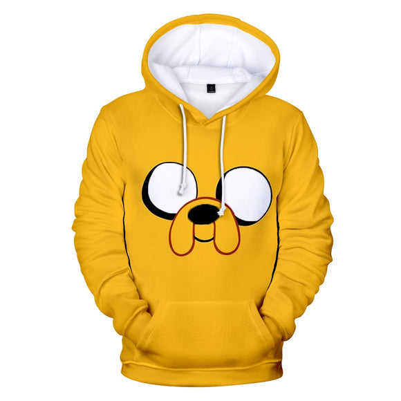 Hot sale Adventure Time Hoodies sweatshirts 3D print Fashion Cartoon Yellow Hoodie cool hoodie for men's Kawaii Size XXS-4XL