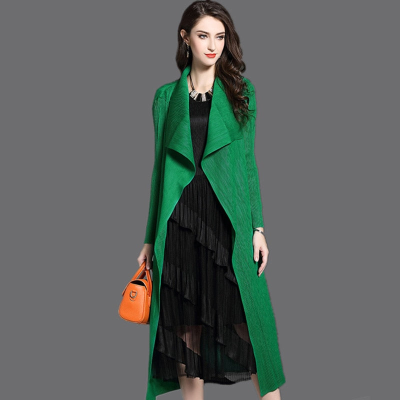 Women's Fashion Pleated Long Windbreaker Turn Down Collar Open Cardigan Black Green gray red Khaki  Women Clothing Coat shawl