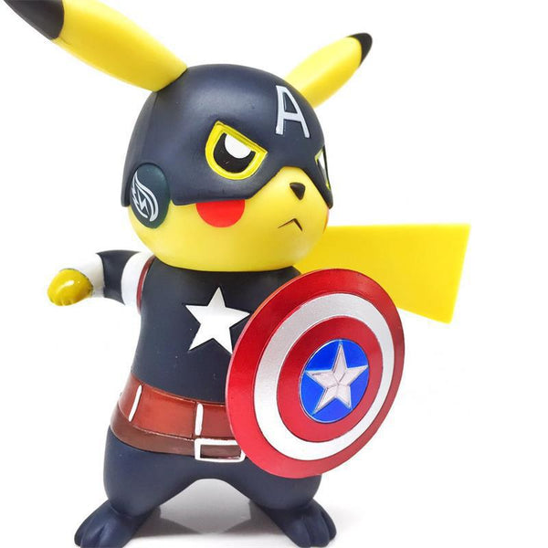Pikaqiu cosplay Avengers Endgame Captain America, Action Figure Collectible Model Toy, the anime action toys.