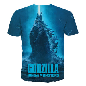 2019 Summer Latest Movie Godzilla: King of the Monsters 3D Print T-shirts Casual Hip Hop Style T-shirt Streetwear Harajuku Tops