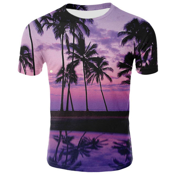 2019 summer clothing male / female T-shirt fake denim fake two pieces 3D printing fashion casual T-shirt round neck 3D printing