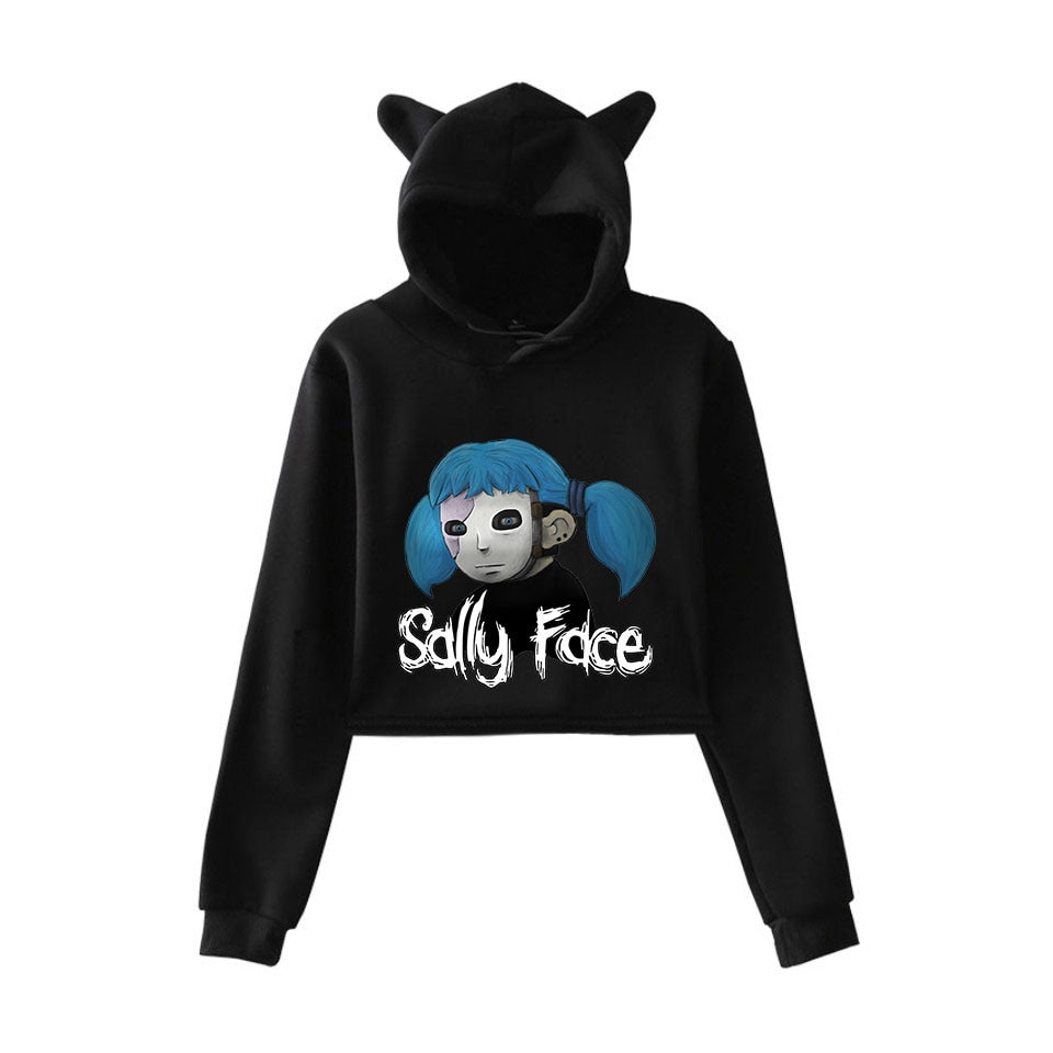 FADUN TOMMY face fashion trend sala Cat Crop Top  Sweatshirt