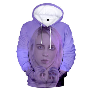 FADUN TOMMY Hoodies  Kawaii  3D Billie Eilish Print Sweatshirt Long Sleeve Women Clothes 2018 Hot Sale Casual Kpop Plus Size 4XL