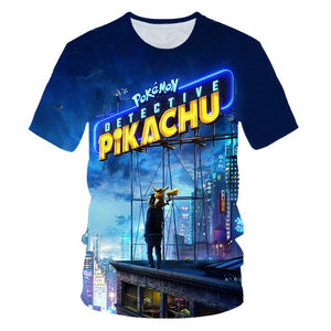 New 2019 lovely movie Detective Pikachu t shirt men women 3D print Novelty funny t shirts summer tops hip hop tshirt streetwear