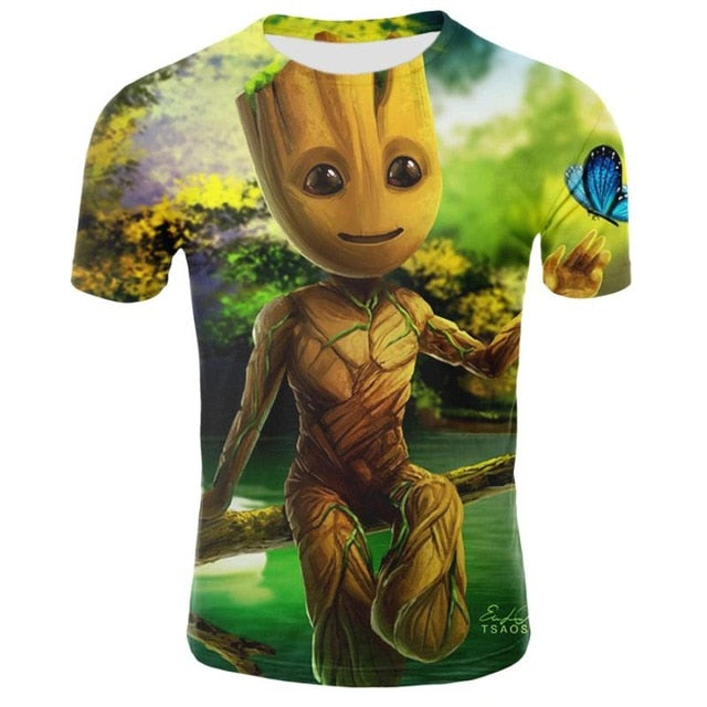 Miracle Superhero Groot movie Galaxy Guard t-shirt summer For Men's 3D printing Men and women Casual quick-drying neck t-shirt