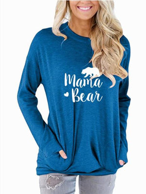 PADDY DESIGN Mama Bear Autumn Winter Long Sleeve Pockets Women T-shirt Tumblr Graphic Cute Mom Top Tee For Ladies T Shirt