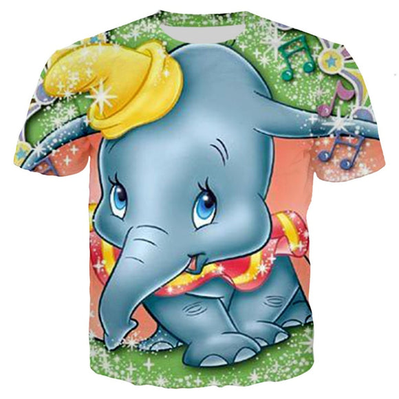 Family matching outfit Children Kids T-shirt Dumbo t shirts 3D print tshirt summer Clothes Girls Cartoon Cute Elephant tees tops