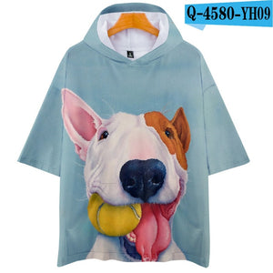 Bull Terrier 3D Print fashion landscape cool Popular Basic hip hop Hoodies Tshirt Street Short Sleeve College Autumn/Summer