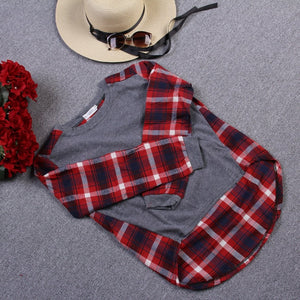 2019 Autumn Winter Women t Shirts Casual Cotton Slim Long Sleeves O-Neck Stitching Plaid Sweatshirts Female Thin T-Shirt Tops