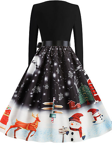 Women's Christmas Party Festival Basic Sheath Dress - Snowflake Snowman, Print Black Green S M L XL