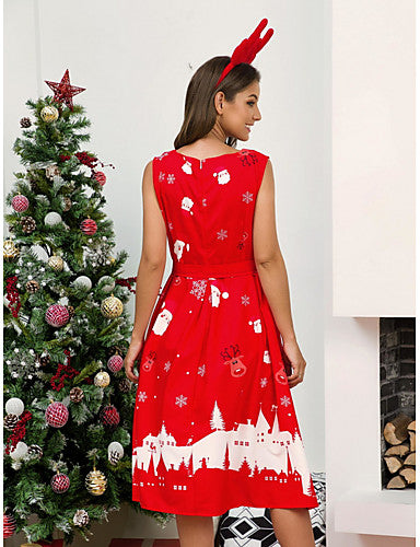 Women's Christmas Party Elegant A Line Dress - Geometric Black White Red S M L XL