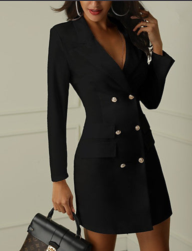Women's Work Sexy Mini Slim Sheath Dress - Solid Colored Deep V Black White S M L XL