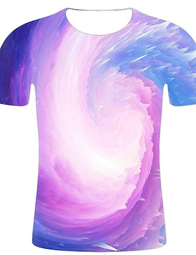 Men's Daily Holiday Street chic / Exaggerated T-shirt - Geometric / Solid Colored Print Purple