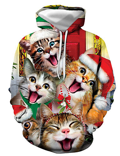 Men's Basic / Christmas Hoodie - Print / 3D / Cartoon Red