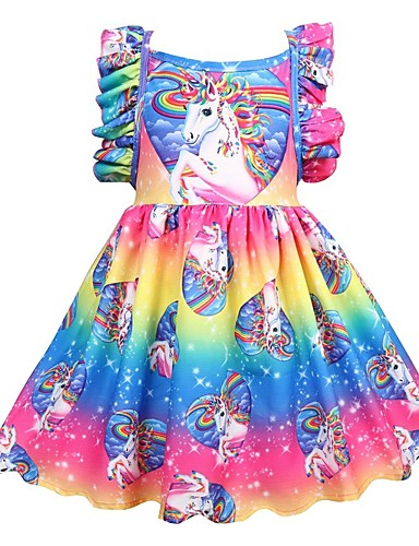 Kids Girls' Active Holiday Patchwork Pleated Sleeveless Knee-length Polyester Dress Rainbow