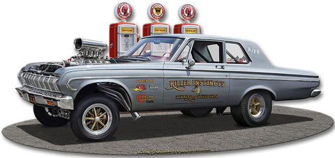 1964 Plymouth Gasser Cutout Metal Sign
