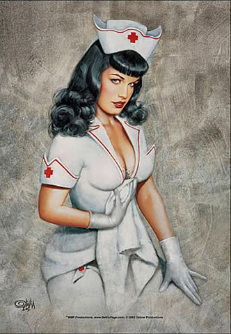 Bettie Page Nurse Fabric Poster