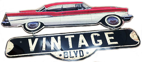 Chevy Die Cut Vintage Hanging Metal Sign