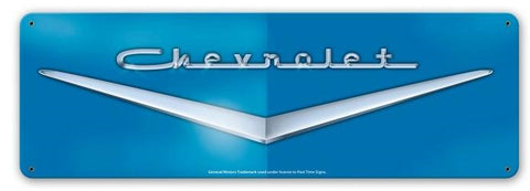 Blue Chevrolet Emblem Sign