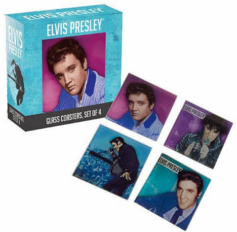 Elvis Glass Coasters Set of 4