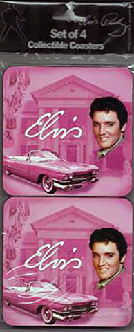 Elvis Pink Coasters Set of 4