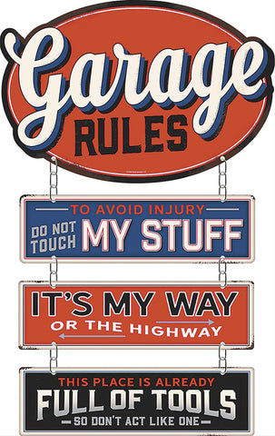 Garage Rules Metal Sign