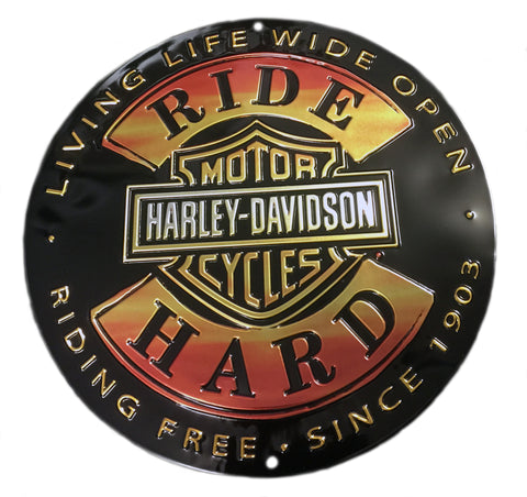 Harley Davidson Ride Hard Tin Sign