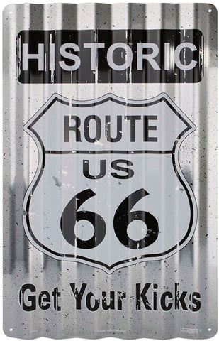 Historic Route 66 Corrugated Aluminum Sign