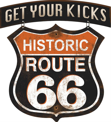 Historic Route 66 Hanging Metal Sign