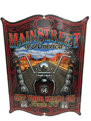 Main Street of America Route 66... Shape Metal Sign