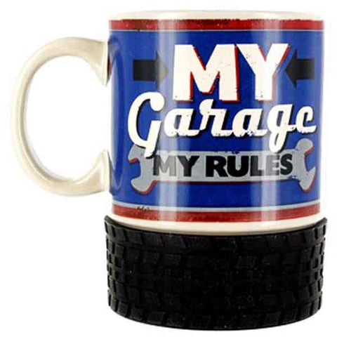 My Garage My Rules Ceramic Mug with Tyre Base.