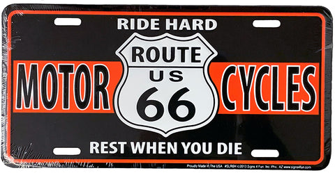 Ride Hard Route 66 License Plate