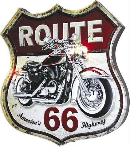 Route 66 Lighted Motorcycle Metal Sign
