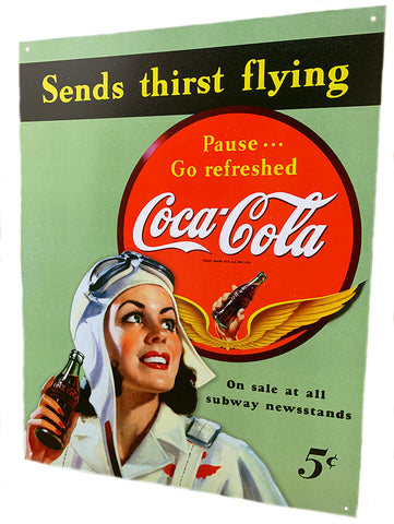 Coca Cola...Send Thirst Flying Metal Sign