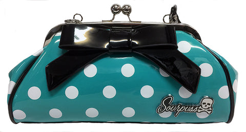 Sourpuss Teal Polka Dot Handbag
