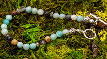 Load image into Gallery viewer, Amazonite Bracelet in pale blue-green, brown and gray