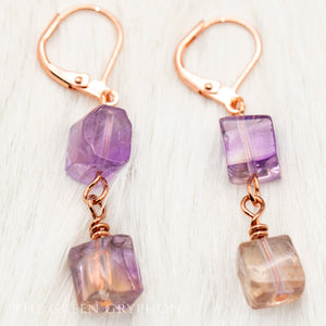 Ametrine Cube Earrings - The Green Gryphon