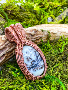 Cernunnos' Amulet: Dendritic Agate hand-wrapped in raw copper wire.