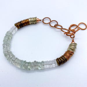 Green Amethyst with Quartz Bracelet in Copper