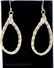 Load image into Gallery viewer, Lacrima Argento earrings, Sterling Silver wire woven teardrops