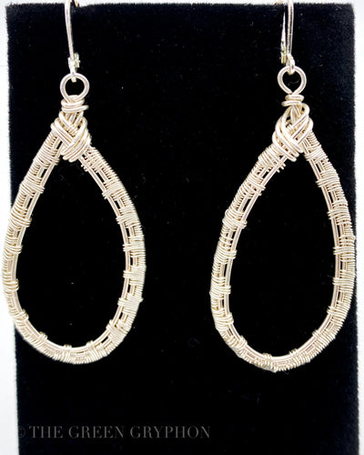 Lacrima Argento earrings, Sterling Silver wire woven teardrops