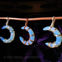 Load image into Gallery viewer, Opalite Crescent Moon Pendant