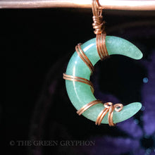 Load image into Gallery viewer, Aventurine Crescent Moon Pendant